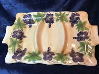 Large hand painted 3 compartment serving platter by Savio Tabletops Unlimited