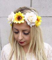 Cream Yellow Rose Sunflower Flower Garland Headband Hair Crown Festival Vtg 3588