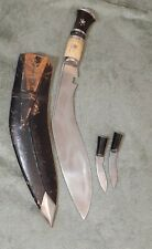 Vintage Gurkha Kukri Nepalese Fighting Knife with Black Sheath 17 in x 2.1/4 in.