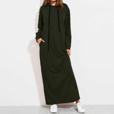 Women Ladies Long Sleeve Hooded Hoodie Sweatshirt Winter Autumn Maxi Dress Party