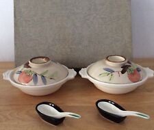 "VINTAGE JAPANESE SOUP BOWL SET WITH LIDS & SPOONS "" VERY HARD TO FIND"""