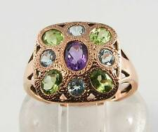DIVINE 9CT ROSE GOLD ART DECO INS MULTISTONE LARGE RING FREE RESIZE