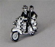 Ska couple on scooter.  Vespa Lambretta PIN BADGE