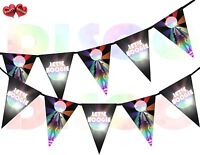 Disco Ball Lets Boogie Sign I Love 70's 80's 90's Theme Bunting Banner 15 flags