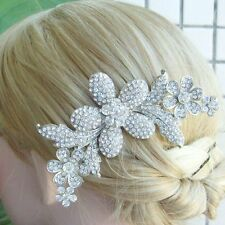 Unique Clear Rhinestone Crystal Flower Bridal Hair Comb Wedding Tiara 05566C1