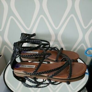 Steve Madden Kyleigh Strappy Sandals Black Braided Leather Womens Shoes 8.5
