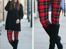 Extra Plus Pretty Red Fall Winter Plaid Leggings Fits Sizes 16-22 NWT