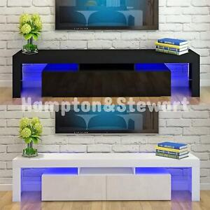 Modern 160cm TV Unit Cabinet Stand High Gloss Drawers LED Lights 2 Colours