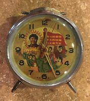 Vintage Chinese Mao Zedong Communist Party Red Alarm Clock Waving Arm