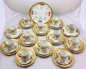 Antique Rosenthal Donatello butterflies tea / coffee service -10 people eggshell