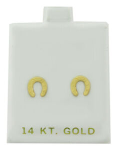 HORSE SHOE STUD EARRINGS 14K Yellow Gold * NEW WITH TAG *