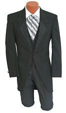 Men's Black Morning Coat Cutaway with Striped Pants Vest & Ascot Victorian 36R