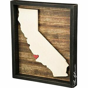 """Primitives by Kathy Wooden California Shape State Box Sign w Heart 13.5x15.5"""""""