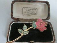 VINTAGE 22ct GOLD PLATED CLOISONNE ENAMEL ROSE FLOWER BROOCH SHAWL PIN