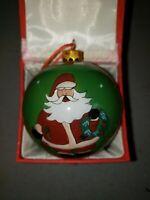 """LI BIEN"" Santa Claus Scenes Reverse Handpainted Glass Christmas Ornament Ball"