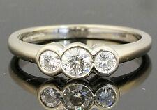 18Carat White Gold 0.50ct Diamond Rubover Three Stone Ring (Size L)