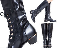 LADIES WOMENS CHUNKY KNEE HIGH ZIP UP PLATFORM MID BLOCK HEEL LACE UP BOOTS SIZE