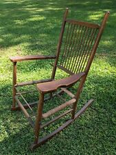 Antique Childs Wooden Rocking Chair Shaker Style Windsor Primitive Frame  Estate