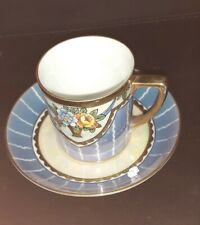 Noritake Blue  and Gold Floral Design Coffee Can Cup and Saucer