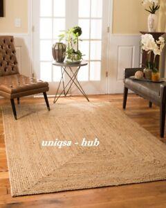 Rug 100% Natural Jute Braided Style Runner Rug Floor Modern Home Living Area Rug