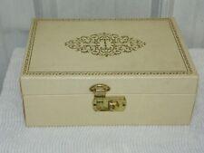 Vintage Cream & Gold Jewelry Trinket Box