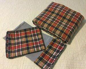Ralph Lauren KENNEBUNKPORT  Plaid/Chambray Twin Duvet & 1Sham & 1 Pillowcase