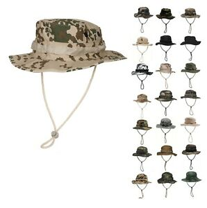 NEU US Tactical Buschhut mit Kinnband GI Boonie Rip Stop Dschungelhut Krempenhut
