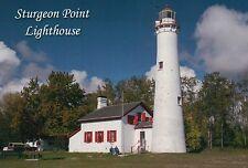 Sturgeon Point Lighthouse near Harrisville Michigan Lake Huron Museum - Postcard