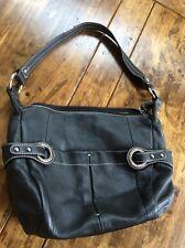 Womens Handbags And Purses/Mia Battina Black Leather Shoulder Bag