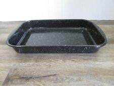 "Granite Ware Enamel Baking Roasting Pan Black Speckled 14"" x 9"" x 2"""