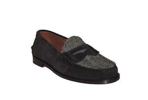 $395 Polo Ralph Lauren Mens Edric Suede Tweed Herringbone Slip On Loafer Shoes