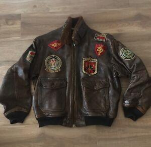Giacca Giubbotto Pelle Top Gun Avirex Jacket Vintage Type G1  tg L