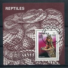 TANZANIE, 1993, BLOC timbre REPTILES, VIPERA BERUS, oblitéré