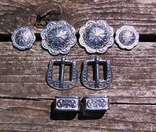 8 PC Jeremiah Watt Horse Shoe Bridle Trim, Rosettes Conchos Buckles + Loops 5/8""