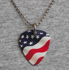 Metal Guitar Pick Necklace - AMERICAN FLAG - usa stars & stripes us - pendant