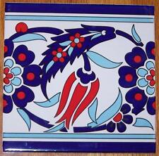 "Ottoman Iznik Red Tulip Pattern 50 8""x8"" Turkish Ceramic Tile BORDER"