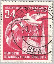 DDR Mi. 320 Y I ° Völkerkongress für den Frieden echt gelaufen Magdeburg 20.1.53