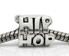 Hip Hop Word Music Rap Dance Club Spacer Charm for Silver European Bead Bracelet