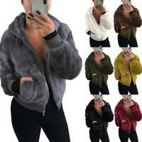 Ladies Hoodie Faux Fleece Fluffy Coat Teddy Bear Fur Jacket Comfy Outwear Sizes