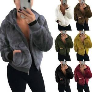 Women Hoodie Faux Fleece Fluffy Coat Teddy Bear Fur Hooded Jacket Ladies Outwear