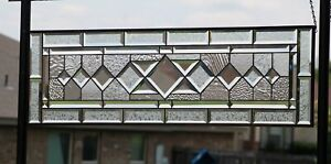 """•CLARITY •Beveled Stained Glass Window Panel-Sidelight /Transom-40 1/2"""" x 12"""