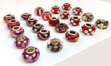 23 Pcs Asst. Red Big Hole Glass Beads Fit Pandor European Bracelet