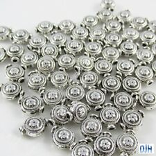 50pcs Silver Flower Disc Spacer Beads Tibetan Style 10x8mm Hole 1mm