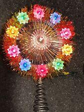 Vtg Mini Flashing/Steady Tinsel Garland Table Top Christmas Tree Topper Light