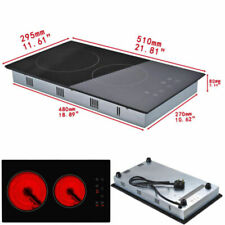 30cm Electric Touch Control 2 Zone Ceramic Hob Table Top Cooker Kitchen
