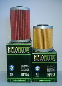KTM SX 400 450 520 525 1ST & 2ND HifloFiltro Oil Filters (HF155 & HF157)