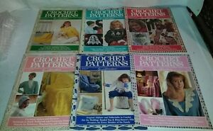 Vintage Crochet Patterns by Herrschners Magazines 6 Issues 1988-1989