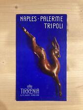 Depliant Tirrenia Crociera Napoli Palermo Tripoli anni '30 Flotta Florio