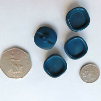 "4 vintage square buttons Blue Art Deco 3/4"" (18 mm) E"