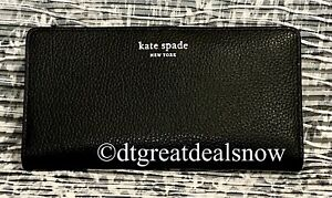 NWT Kate Spade Eva Large Slim Bifold Wallet Black / Warm Beige